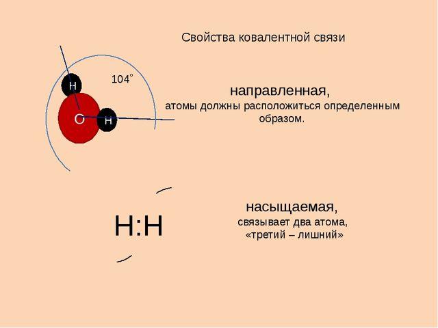 Свойства ковалентной связи направленная, атомы должны расположиться определен...