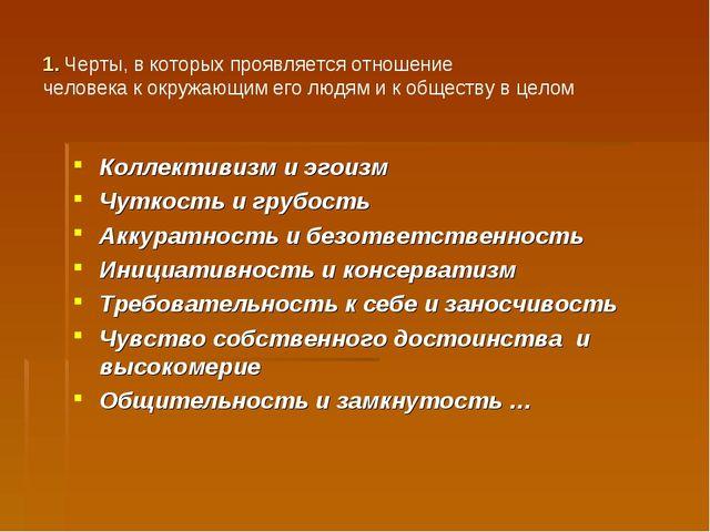 1. Черты, в которых проявляется отношение человека к окружающим его людям и к...