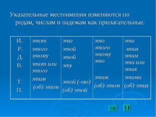 Указательные местоимения изменяются по родам, числам и падежам как прилагател