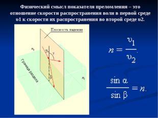 Физический смысл показателя преломления – это отношение скорости распростране