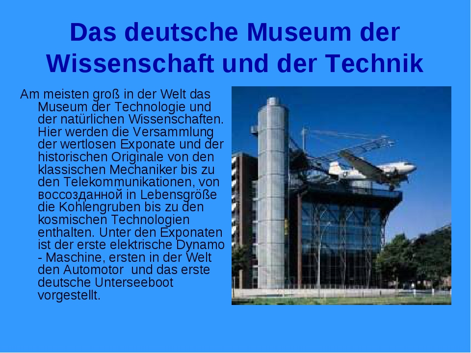 Das deutsche Museum der Wissenschaft und der Technik Am meisten groß in der W...