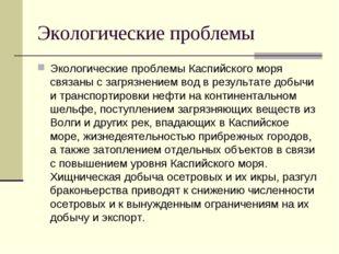 Экологические проблемы Экологические проблемы Каспийского моря связаны с загр