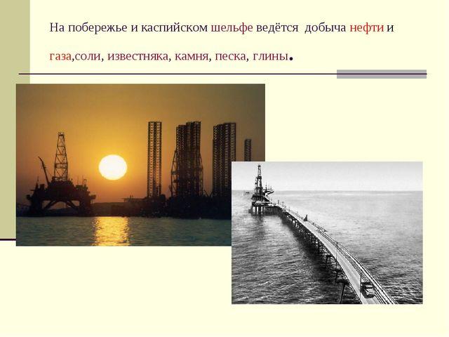На побережье и каспийском шельфе ведётся добыча нефти и газа,соли, известняка...