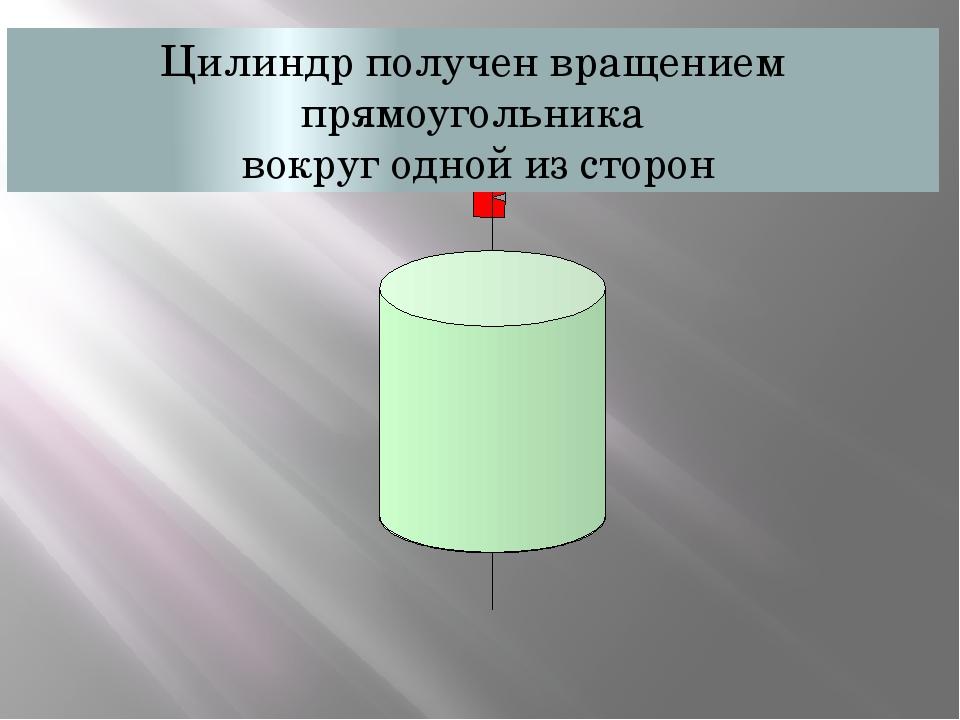 Цилиндр получен вращением прямоугольника вокруг одной из сторон