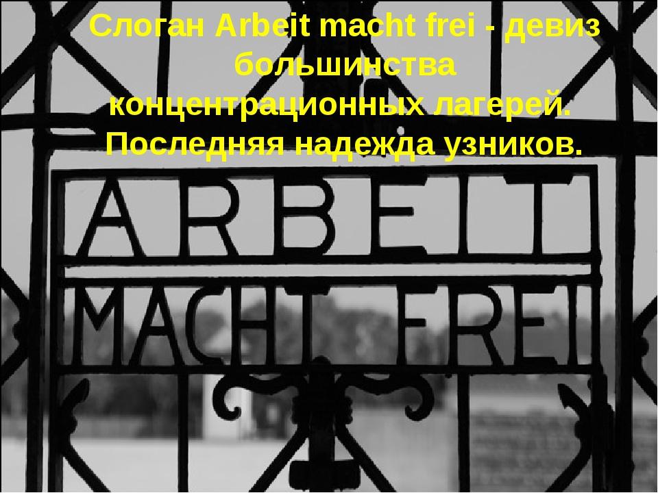 Слоган Arbeit macht frei - девиз большинства концентрационных лагерей. Послед...
