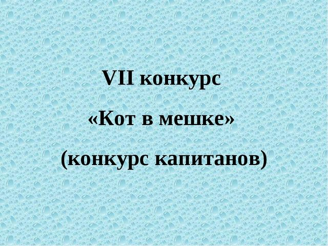 VII конкурс «Кот в мешке» (конкурс капитанов)