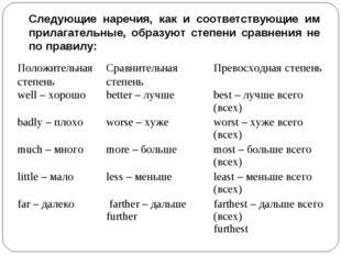 Следующие наречия, как и соответствующие им прилагательные, образуют степени