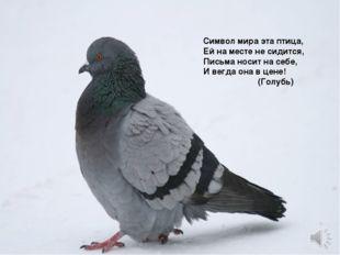 Символ мира эта птица, Ей на месте не сидится, Письма носит на себе, И вегда