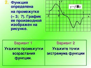 Функция определена на промежутке (–3;7). График ее производной изображен