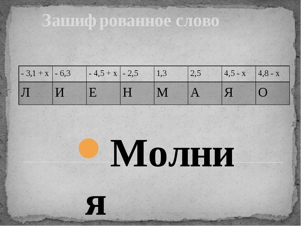 Зашифрованное слово Молния - 3,1 +x - 6,3 - 4,5 +x - 2,5 1,3 2,5 4,5 -x 4,8...