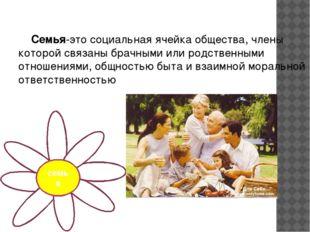Семья-это социальная ячейка общества, члены которой связаны брачными или род
