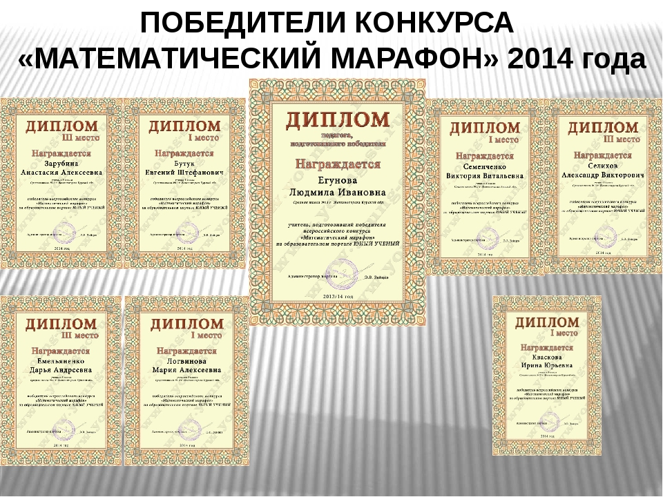 ПОБЕДИТЕЛИ КОНКУРСА «МАТЕМАТИЧЕСКИЙ МАРАФОН» 2014 года