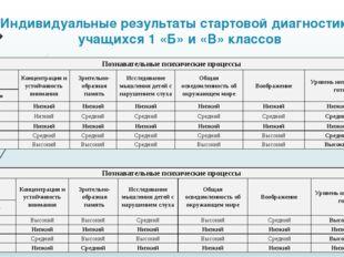Индивидуальные результаты стартовой диагностики учащихся 1 «Б» и «В» классов