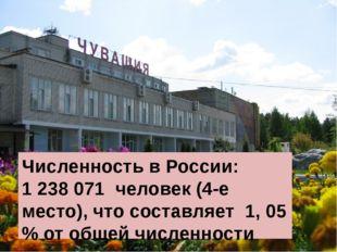 Численность в России: 1238071 человек (4-е место), что составляет 1, 05 % о