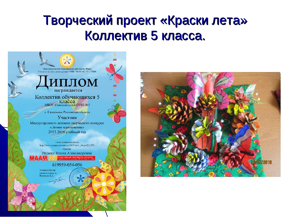 Творческий проект «Краски лета» Коллектив 5 класса.
