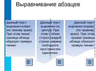 Выравнивание абзацев Данный текст выровнен влево (по левому краю). При этом л