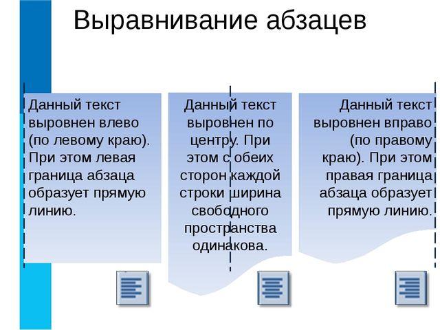 Выравнивание абзацев Данный текст выровнен влево (по левому краю). При этом л...