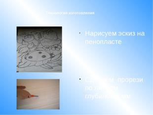 Нарисуем эскиз на пенопласте Сделаем прорези по линиям глубиной 5 мм Техноло