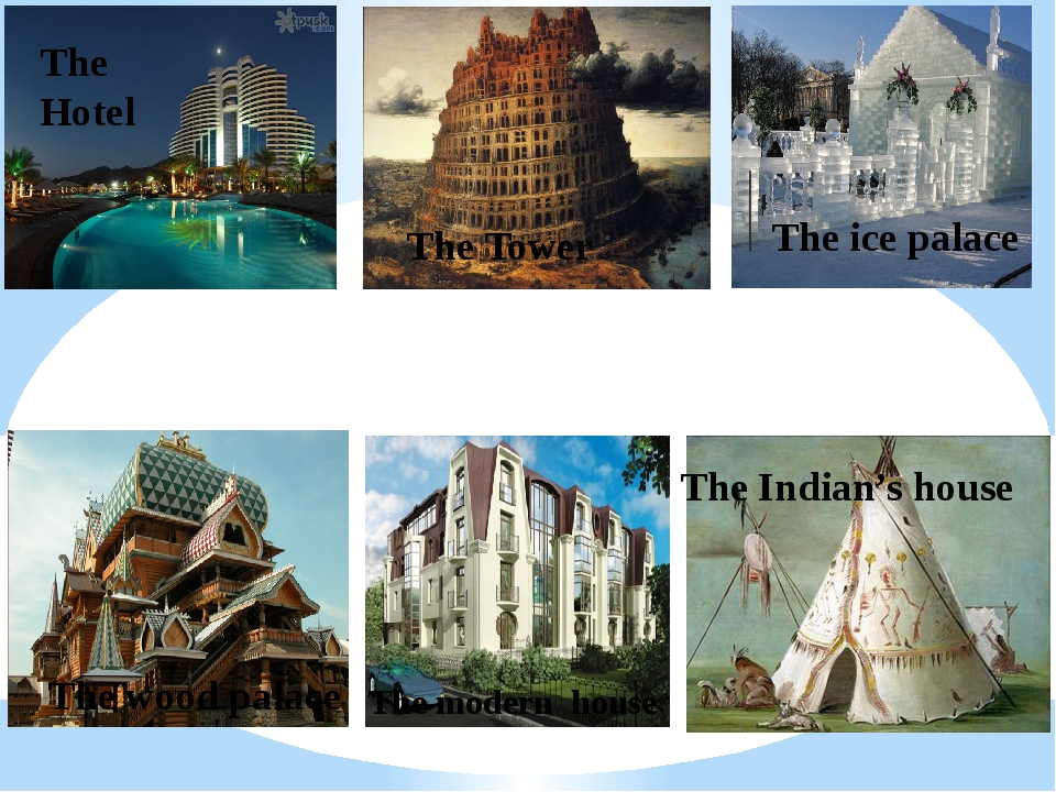 The Hotel The Tower The ice palace The wood palace The Indian's house The mod...
