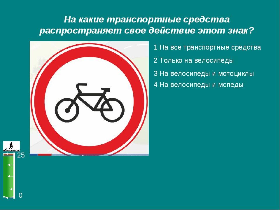 0 25 На какие транспортные средства распространяет свое действие этот знак? 1...