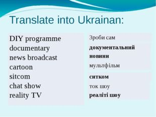 Translate into Ukrainan: DIYprogramme documentary newsbroadcast сartoon sitco