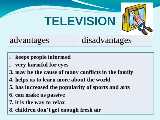 TELEVISION advantages disadvantages keeps people informed very harmful for ey...