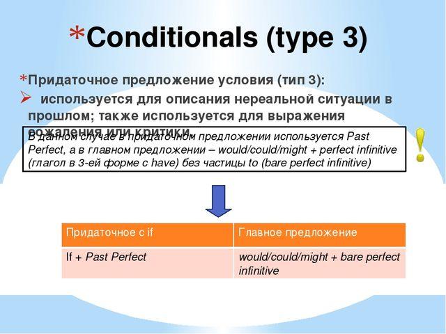 Conditionals (type 3) Придаточное предложение условия (тип 3): используется д...
