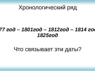 Хронологический ряд 1777 год – 1801год – 1812год – 1814 год - 1825год Что свя
