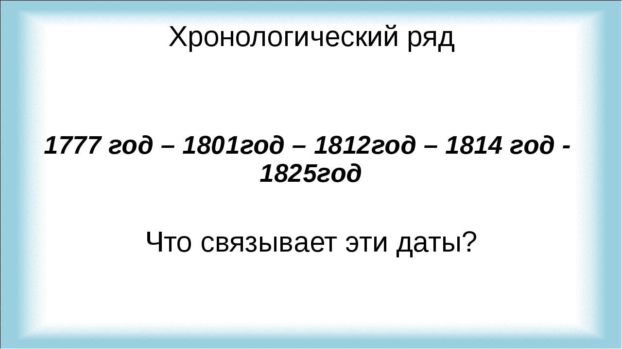 Хронологический ряд 1777 год – 1801год – 1812год – 1814 год - 1825год Что свя...