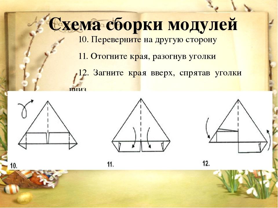 Схема сборки модулей 10. Переверните на другую сторону 11. Отогните края, раз...