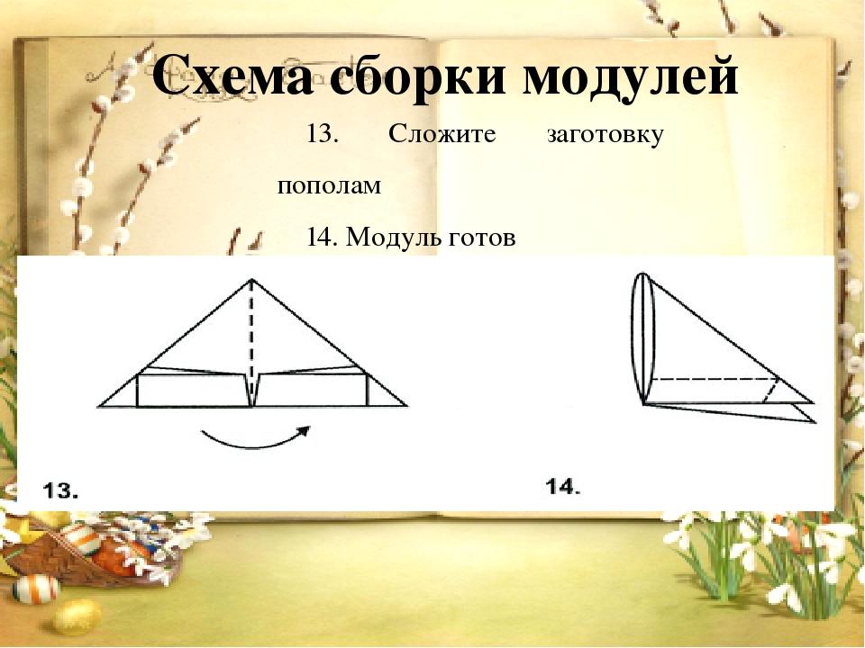 Схема сборки модулей 13. Сложите заготовку пополам 14. Модуль готов