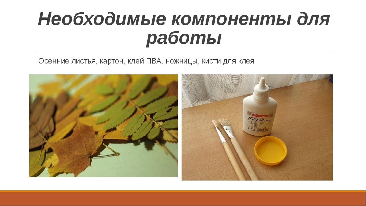 Необходимые компоненты для работы Осенние листья, картон, клей ПВА, ножницы,...