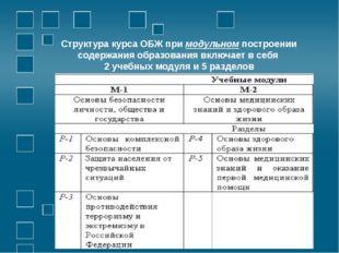 Структура курса ОБЖ при модульном построении содержания образования включает