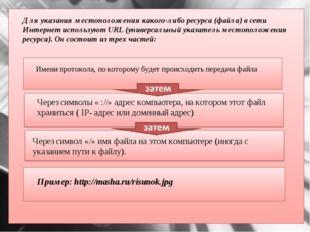 Для указания местоположения какого-либо ресурса (файла) в сети Интернет испо