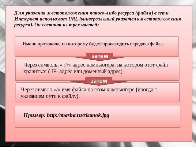 Для указания местоположения какого-либо ресурса (файла) в сети Интернет испо...