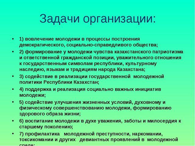 Задачи организации: 1) вовлечение молодежи в процессы построения демократичес...