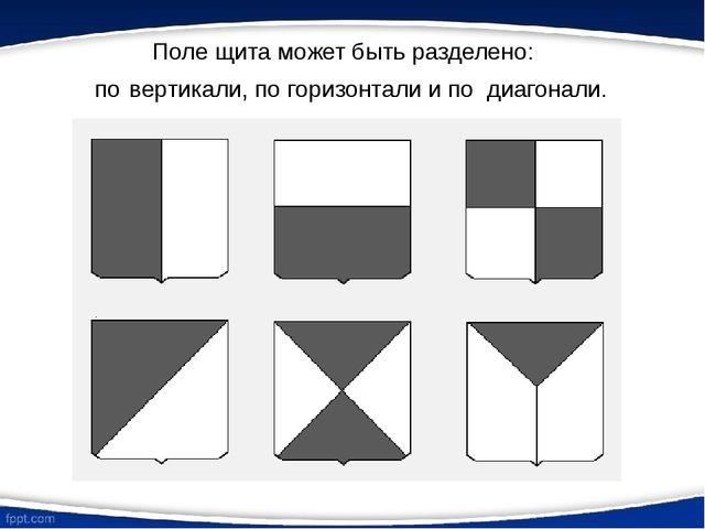 Поле щита может быть разделено: по вертикали, по горизонтали и по диагонали.