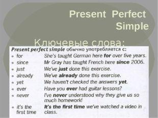 Present Perfect Simple Ключевые слова: