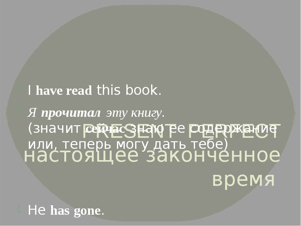 PRESENT PERFECT настоящее законченное время Ihavereadthis book. Япрочита...