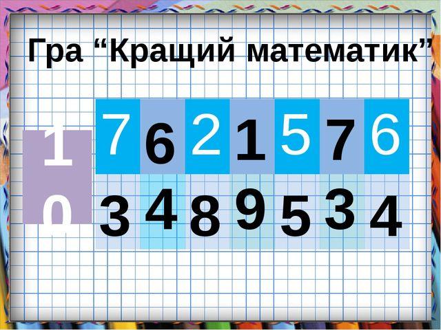 "Гра ""Кращий математик"" 10 3 6 8 1 5 7 4 7 2 5 6 4 9 3"
