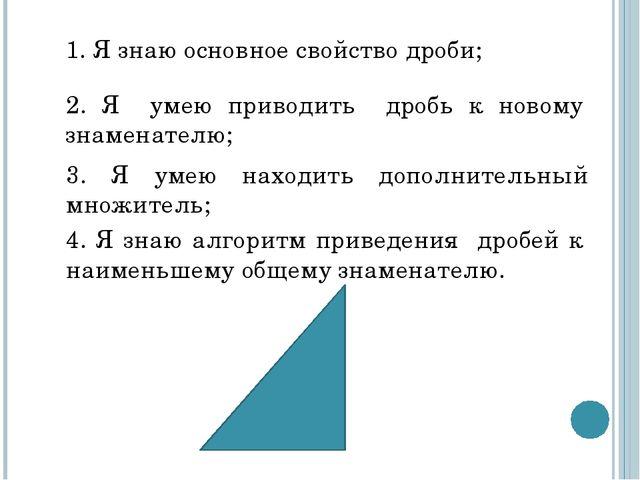 1. Я знаю основное свойство дроби; 2. Я умею приводить дробь к новому знамена...