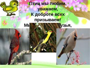 Птиц мы любим, уважаем, К доброте всех призываем! Мы уверены, друзья, Жить б