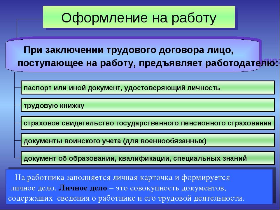 Оформление на работу При заключении трудового договора лицо, поступающее на р...