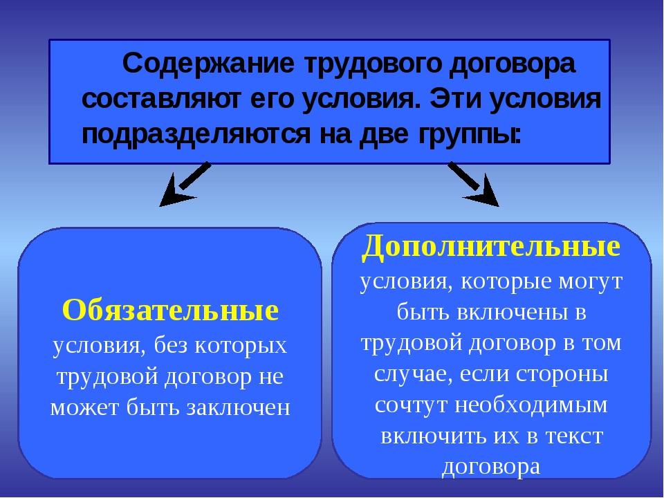 Содержание трудового договора составляют его условия. Эти условия подразделя...
