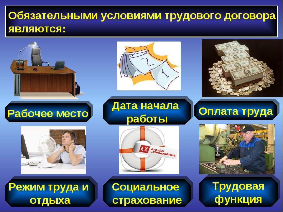 Обязательными условиями трудового договора являются: Рабочее место Дата начал...