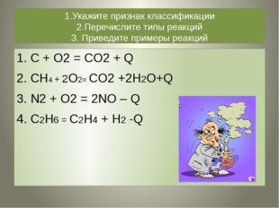 1.Укажите признак классификации 2.Перечислите типы реакций 3. Приведите приме