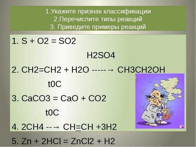 1.Укажите признак классификации 2.Перечислите типы реакций 3. Приведите приме...