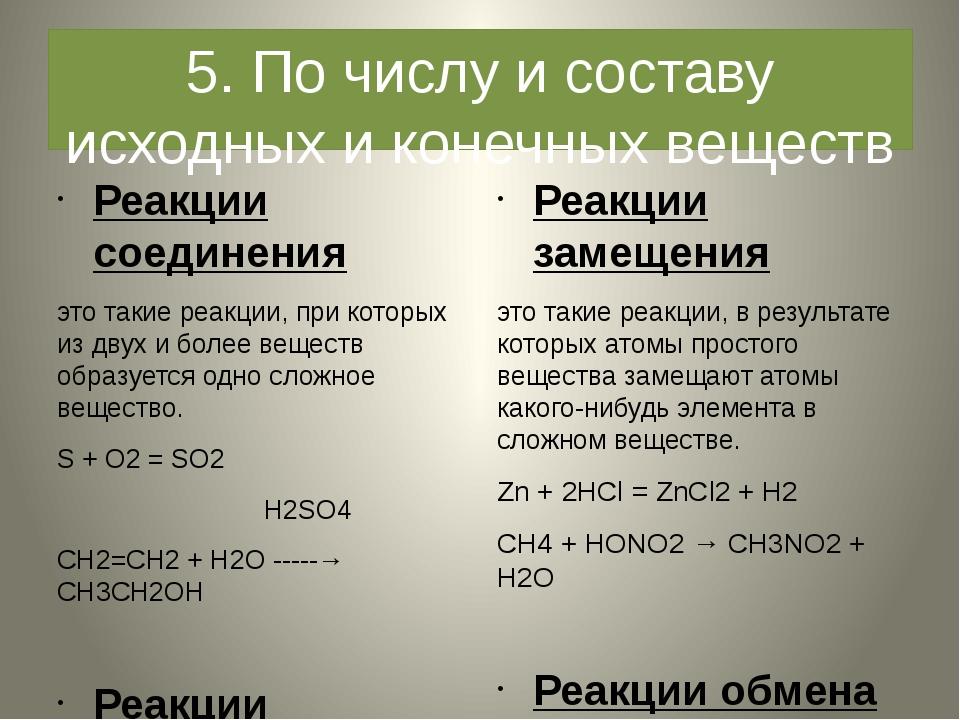 5. По числу и составу исходных и конечных веществ Реакции соединения это таки...