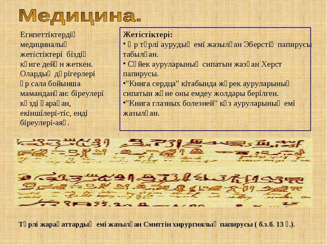 Египеттіктердің медициналық жетістіктері біздің күнге дейңн жеткен. Олардың д...