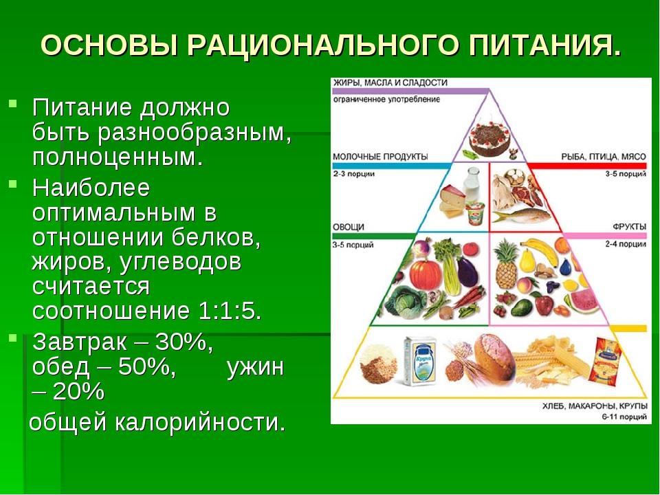 ОСНОВЫ РАЦИОНАЛЬНОГО ПИТАНИЯ. Питание должно быть разнообразным, полноценным....